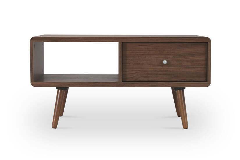 Made of MDF wood with walnut colored laminates, the coffee table's wood colored tones are easy to match.