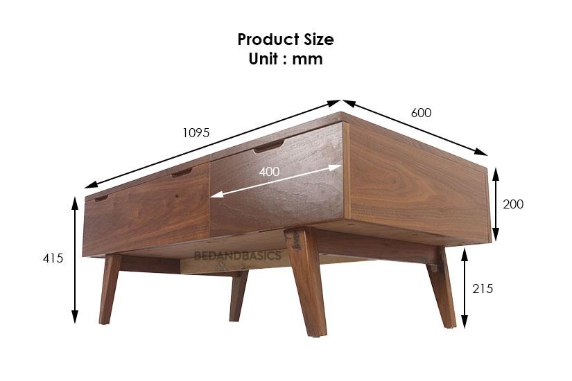 dimensions of elsie coffee table