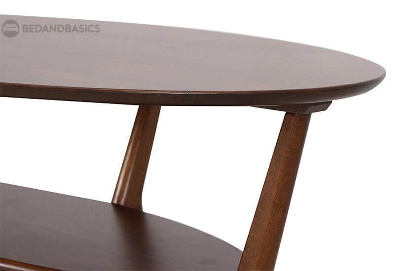 Oval-shaped tabletop design that takes up lesser space.