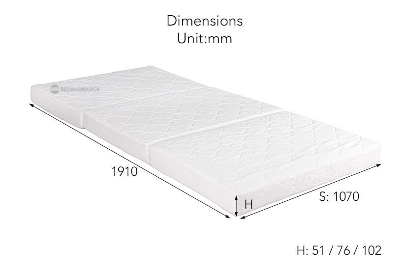 The dimensions of the Sleepy Night Orthopaedic Foldable Mattress (Single).
