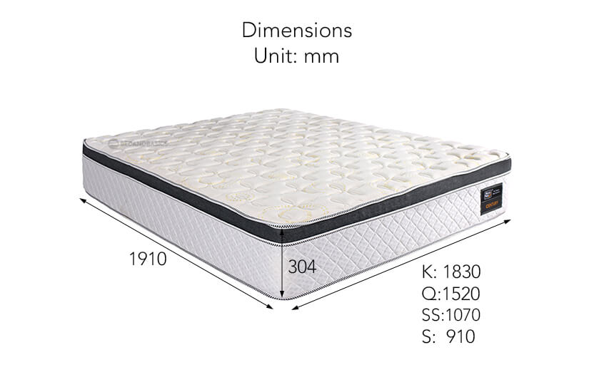 The dimensions of Sleepy Night Century Orthopedic Spring Mattress available online at bedandbasics.sg in Singapore.