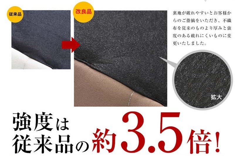 Based on customers' reviews, the bed's lining has been improved to be thicker and stronger to prevent tearing. The bed's lining is 3.5 times stronger than conventional brands.