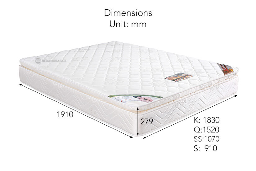 The dimensions of the Sleepy Night Hotel Limited Edition Spring Mattress.