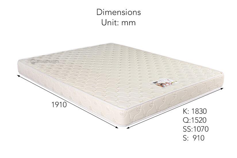 The dimensions of the Sleepy Night Sleep Deluxe High Density Foam Mattress.