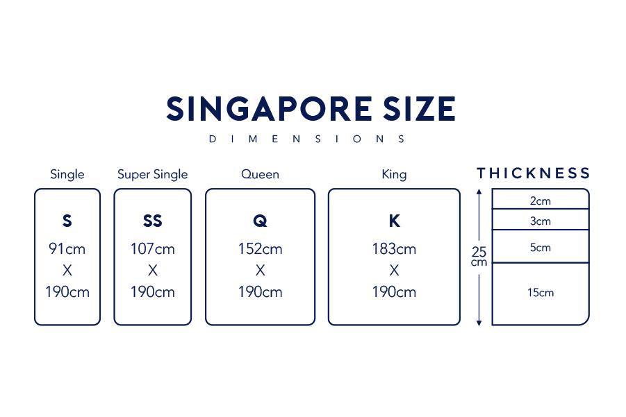 singapore mattress size chart