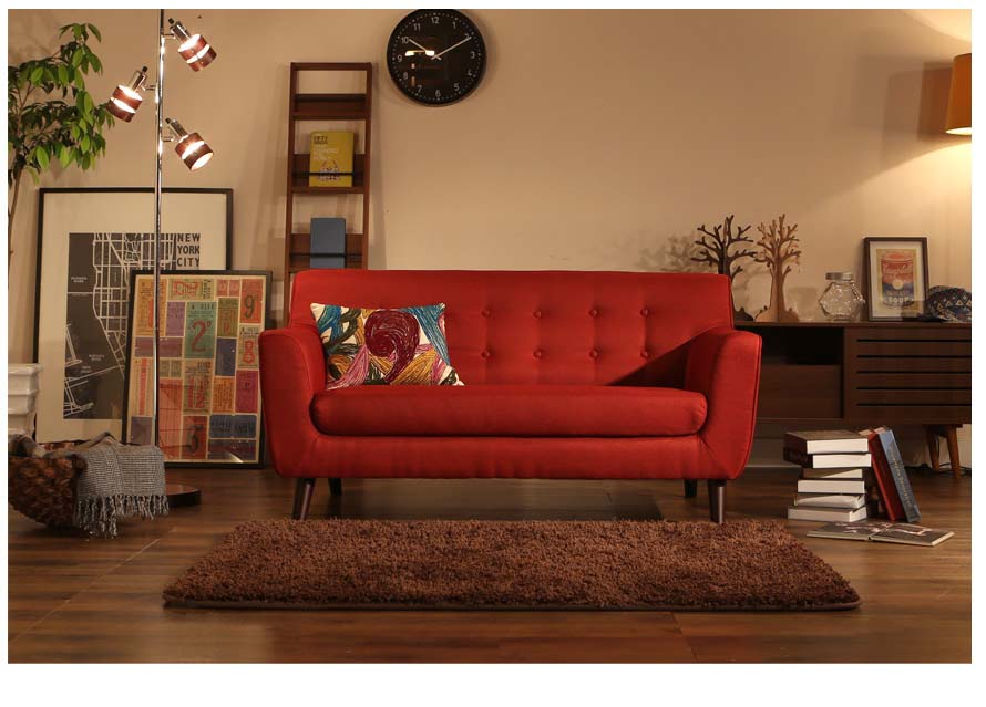 The Alba japanese sofa in red fabric color front view.