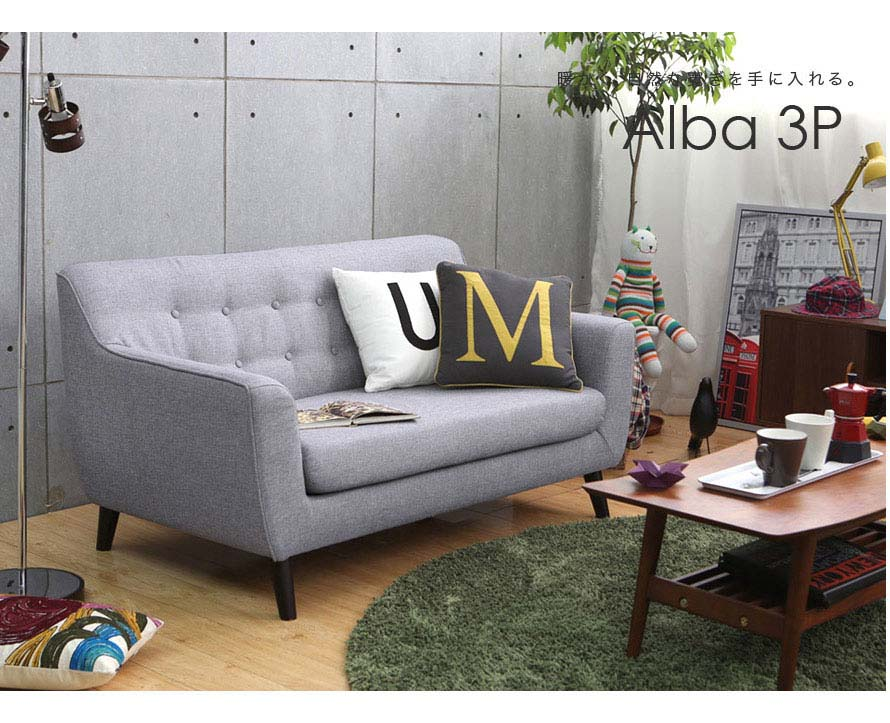 The Alba 2 seater sofa in gray is seen here.