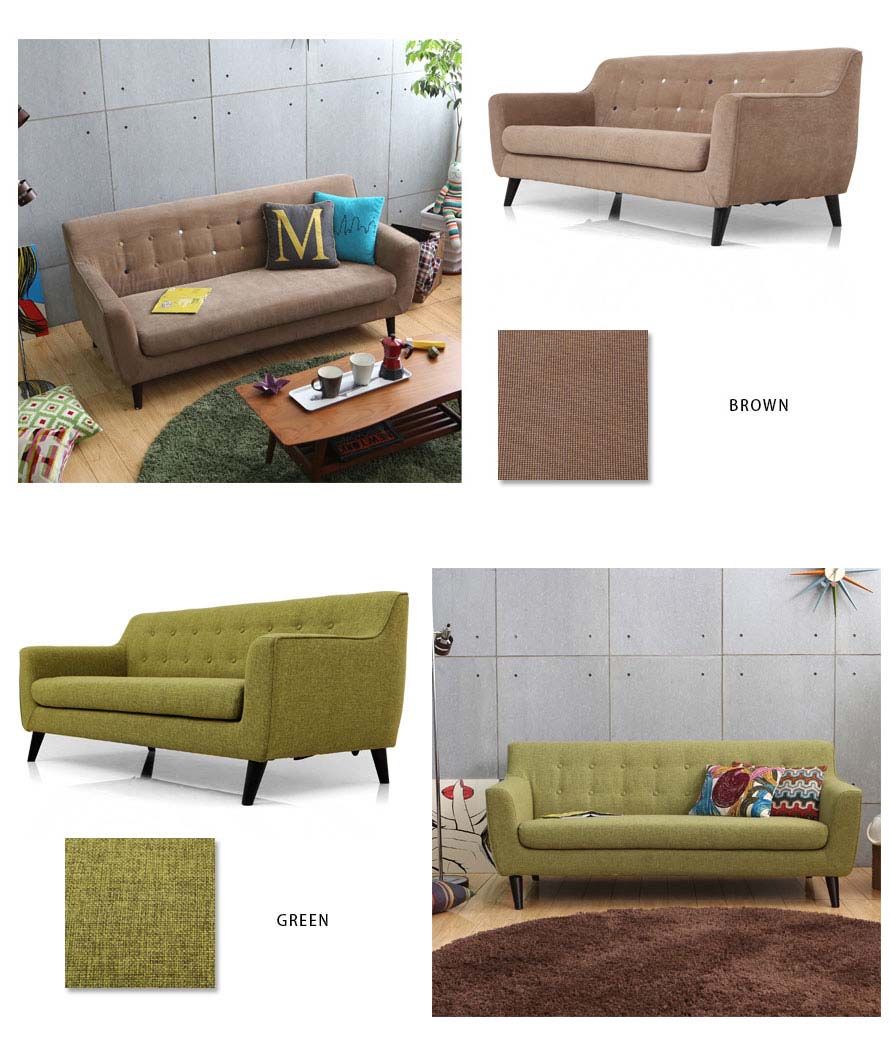 The Alba Sofa in Brown and Green Fabric colors.