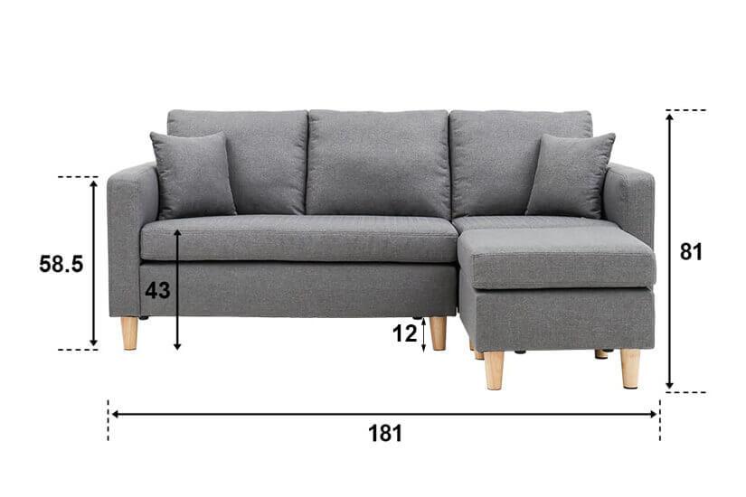 Belluno L Shaped Sofa overall dimensions.
