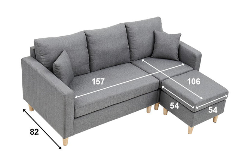 Belluno L Shaped Sofa dimensions