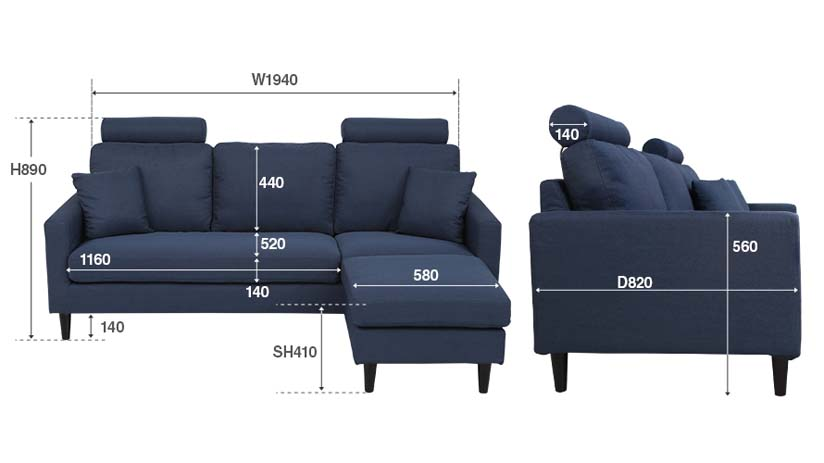 the dimensions of the colon sofa. bedandbasics.sg is the best furniture online shop in Singapore (SG)