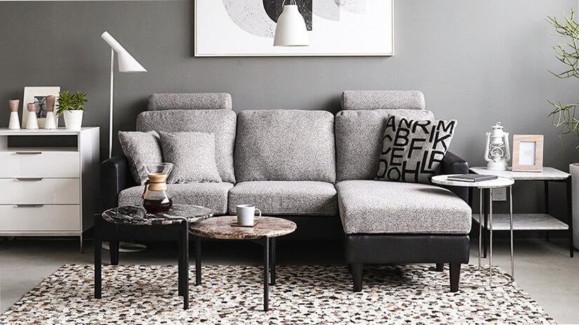 Colon sofa in PU Black X Gray Color
