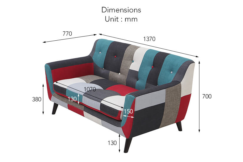 The dimensions of the Continental 2 Seater Fabric Sofa.