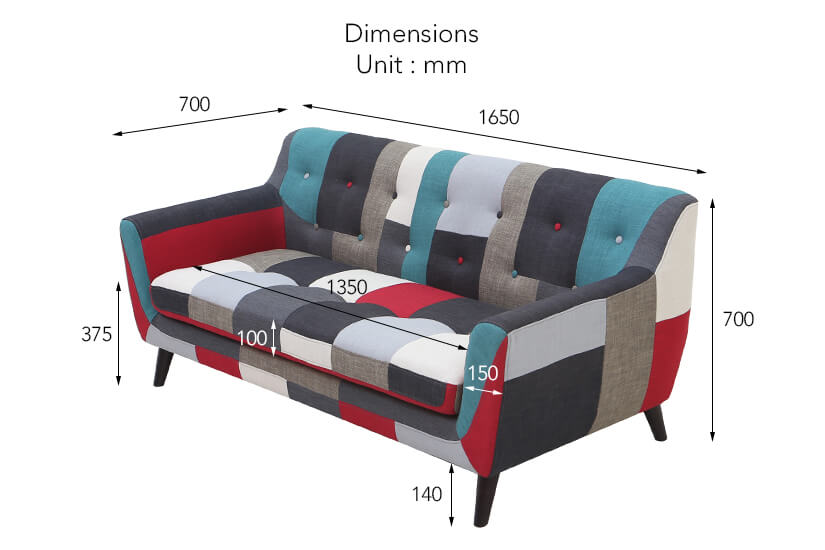 The dimensions of the Continental 3 Seater Fabric Sofa.
