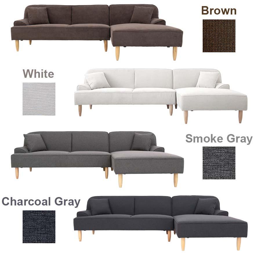 Brown, white, smoke gray and charcoal gray fabric dile sofa colors