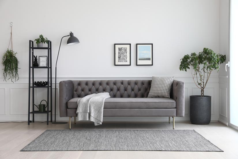 Elias chesterfield 3 seater sofa in grey velvet upholstery