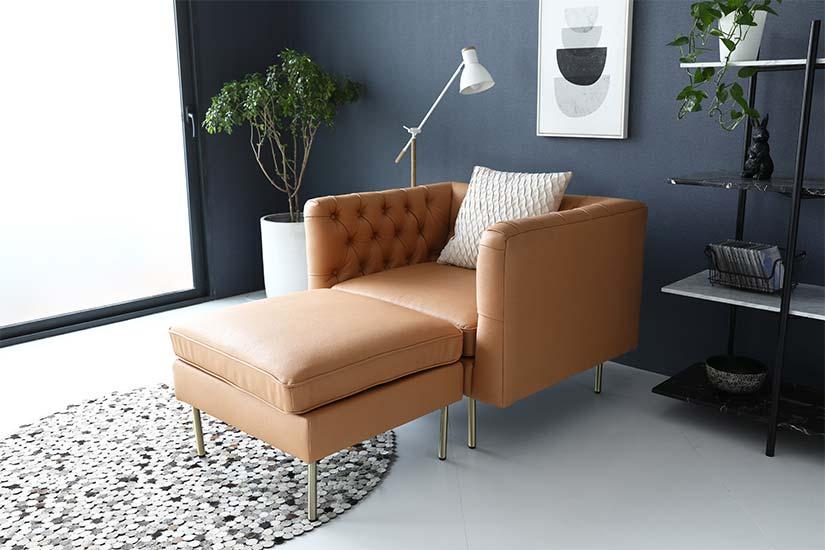 Accommodate additional seater with a matching Elias tech fabric Ottoman Stool.