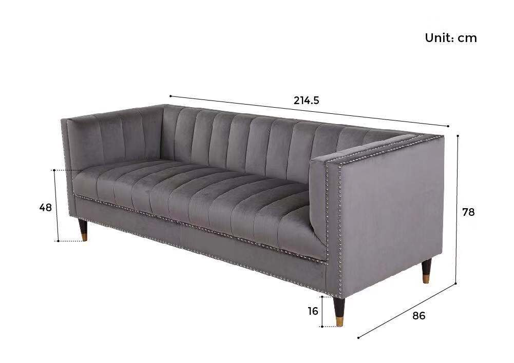 feo tuxedo chesterfield sofa size dimension