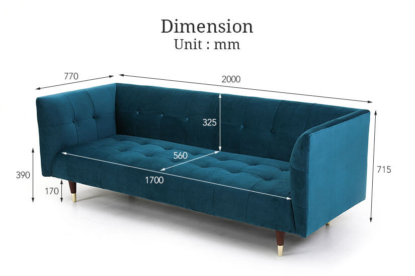 Dimensions of the Frank 3 Seater Sofa. Best online furniture store for living room furniture SG.