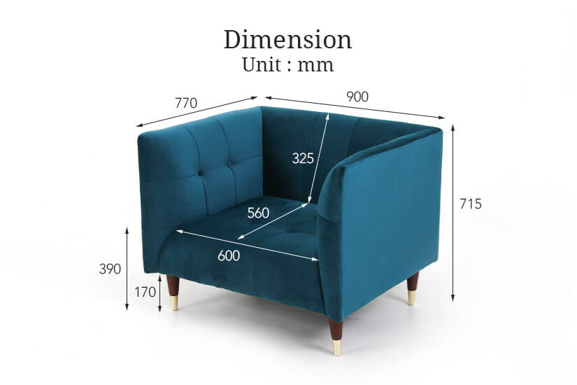Dimensions of the Frank armchair. Best online furniture store for living room furniture SG.