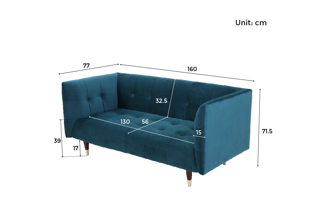 Frank 2 Seater Sofa Dimensions