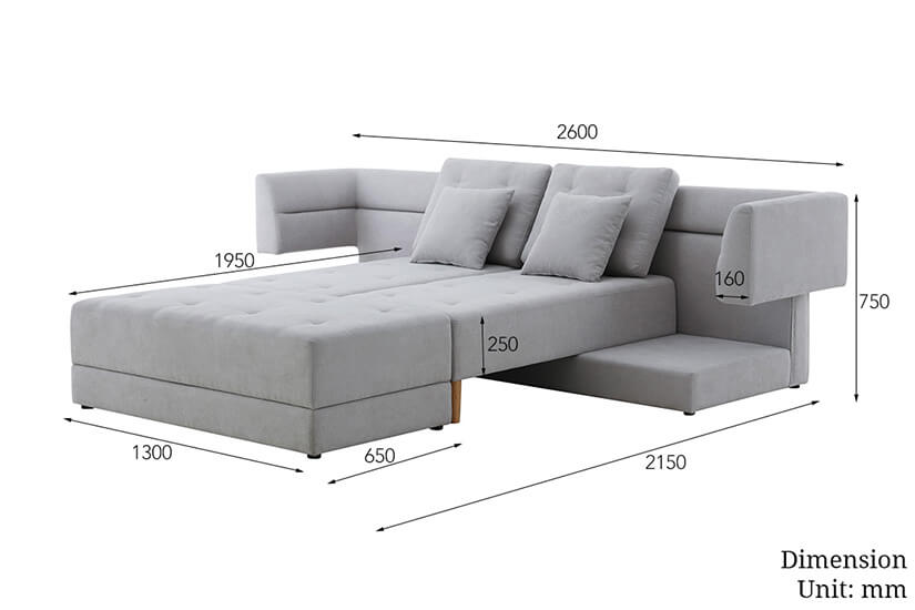 The Dimensions of the Fureki flexible storage bed. Buy living room furniture and storage sofa beds online in Singapore (SG) today!
