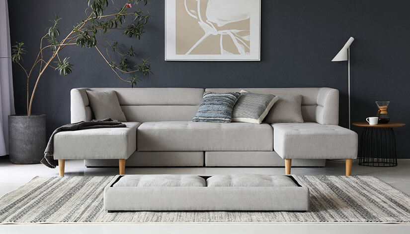 Maximise floor spaces with a multi-functional sofa. Cushions can be shifted to create a U-shape sofa.