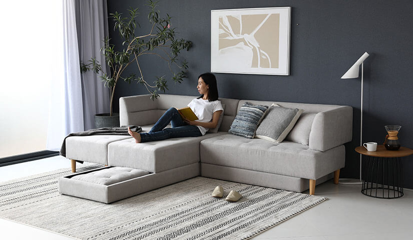 Explore multiple configurations. Shift cushions around. 2 seaters can comfortably stretch out their legs. Flatter corner spaces. Create an L-Shape sofa.