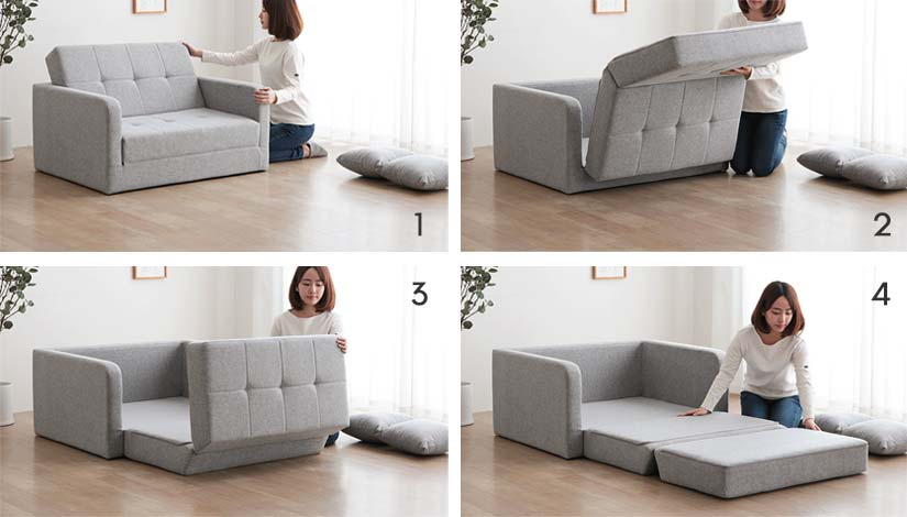 Unfold the sofa's cushion to turn the sofa bed into a Semi-Single bed.