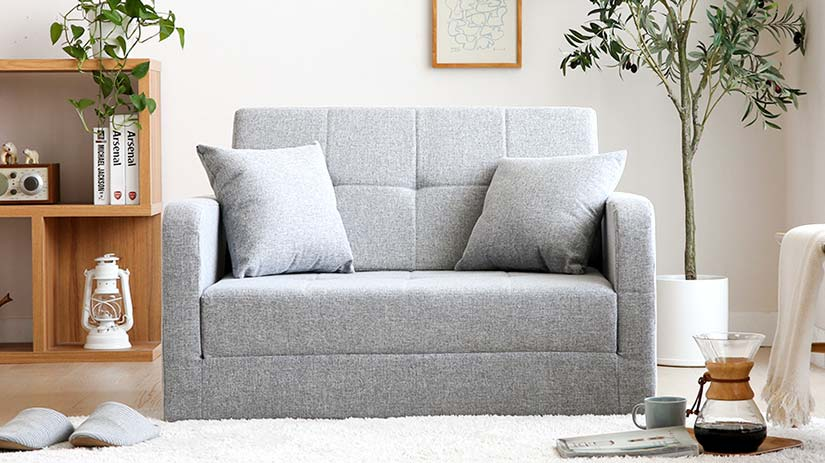 The sofa is designed to be compact to fit perfectly in small spaces. The sofa still offers you a wide enough space to comfortably relax on the sofa