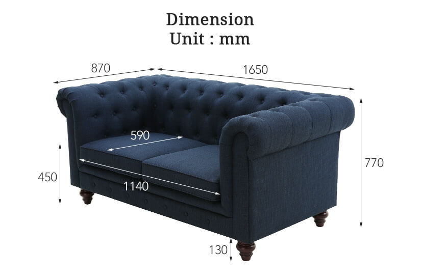 The dimensions of the Hugo 2 Seater Chesterfield Sofa. Shop your living room furniture online in Singapore (SG) today.