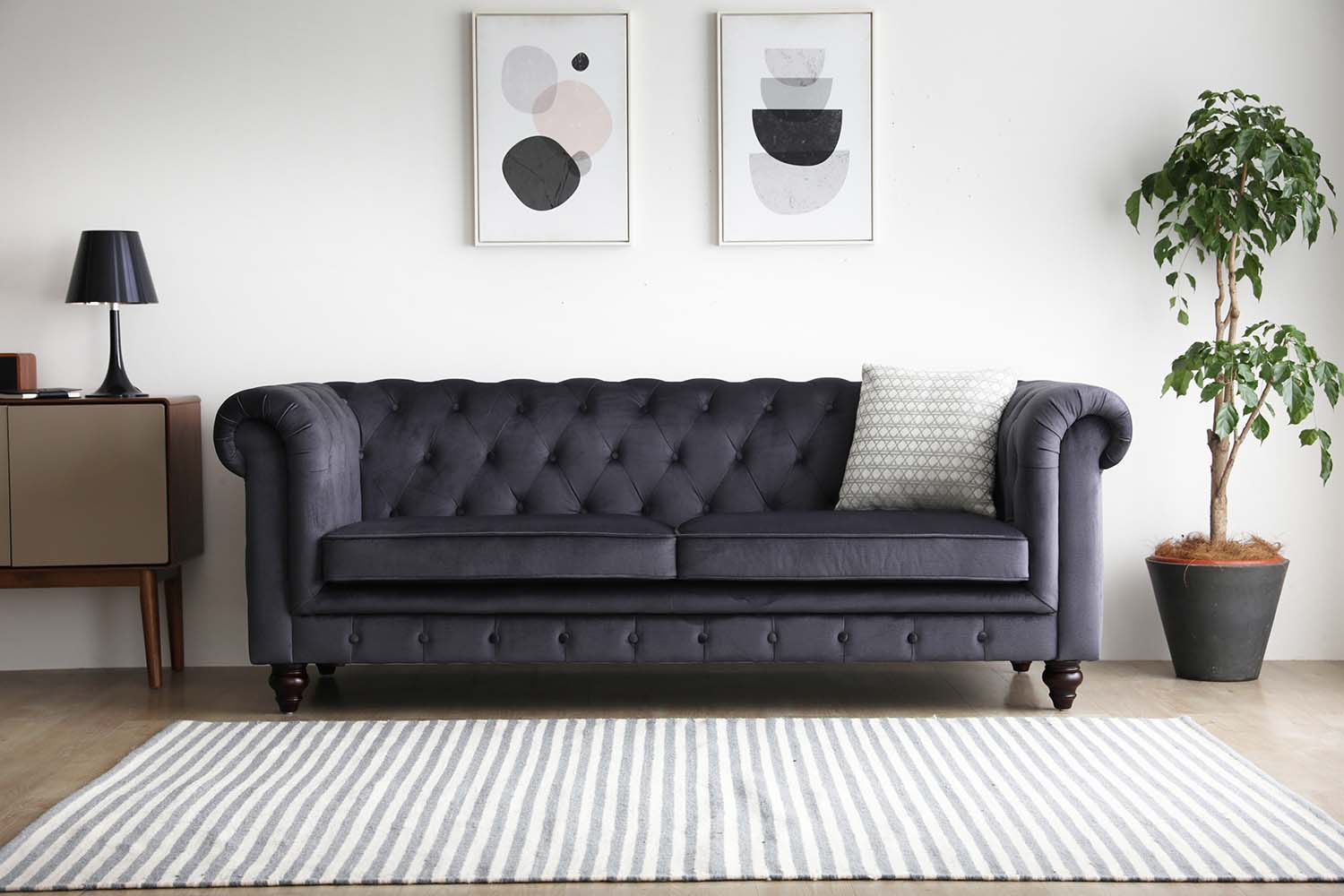 Hugo 3 Seater Chesterfield Sofa Black