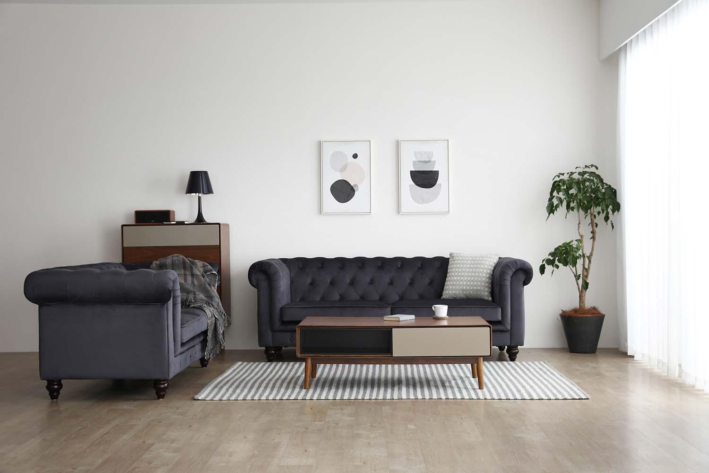 6ed568825bea Hugo 3 Seater Chesterfield Sofa - Black Velvet (Water Repellent ...