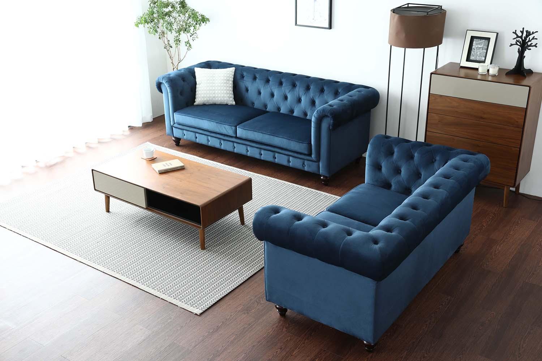 5edbad3c2bc1 Hugo Chesterfield 3 Seater Sofa - Blue Velvet (Water Repellent ...