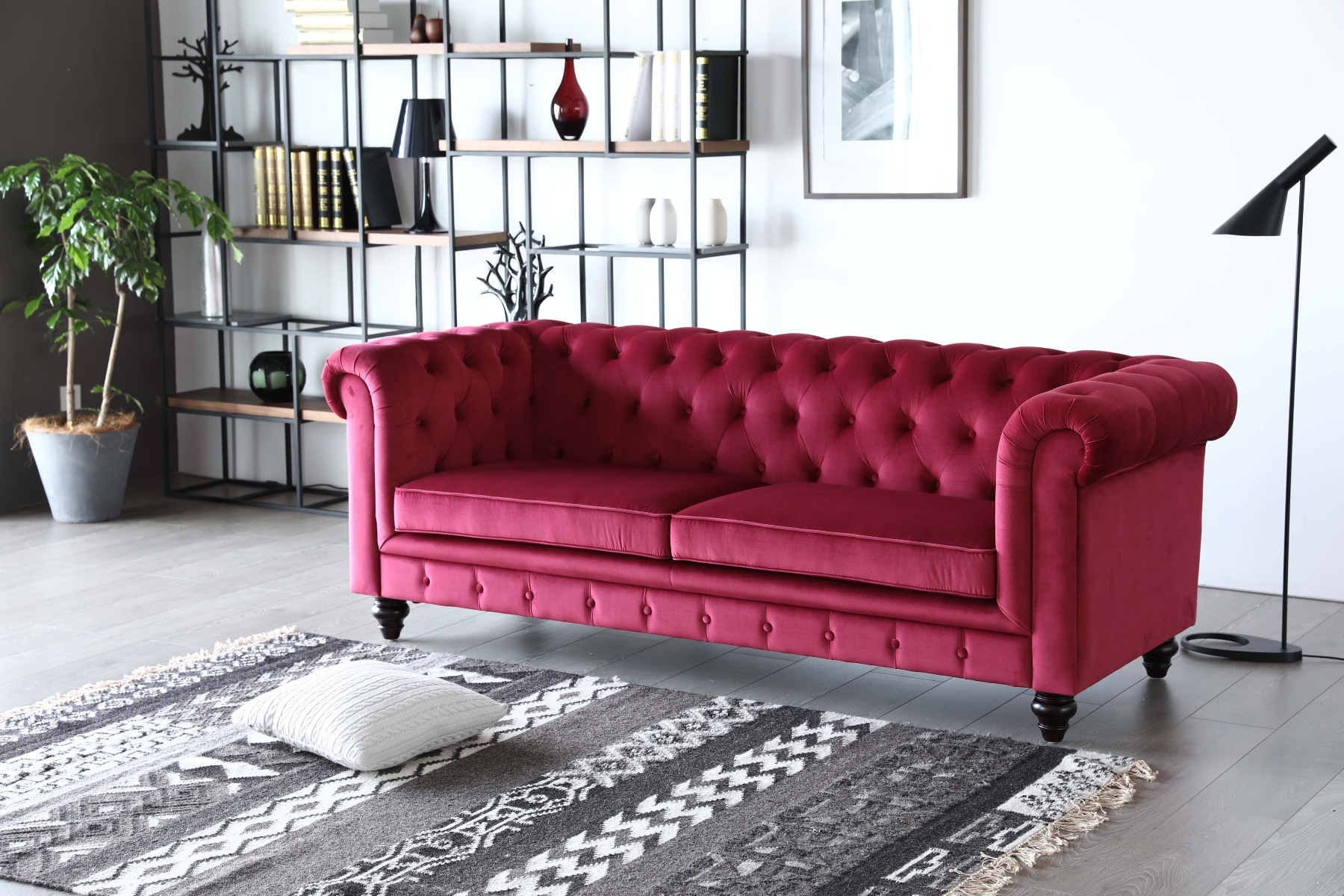 The classical sofa in an industrial themed living room.
