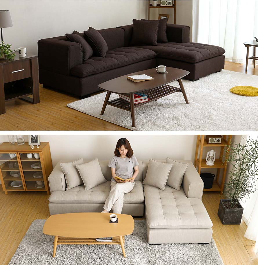 The LODZ sofa front view and side view in a modern and scandinavian styled living room.