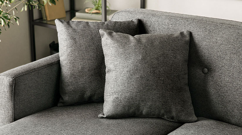 Sofa comes with 2 matching throw pillows. Cosy and comfortable. Uniform appearance.
