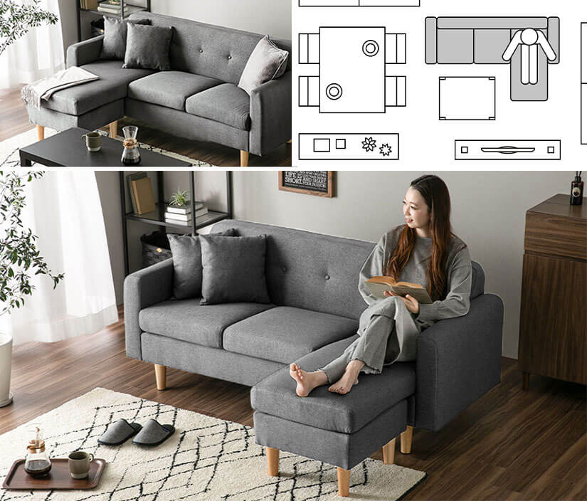 Stretch your legs and cosy up. A layout that lets you sit comfortably. A great way to fill up awkward corners.
