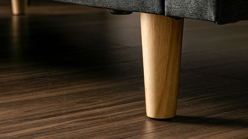 Legs made of natural wood. Durable and stable. Simple structure enhanced with its woodgrain texture.