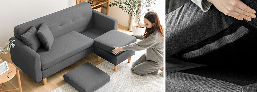 Velcro strips that ensures cushions are placed securely. Also allows cushions to be easily moved around. Configure sofa layouts easily.