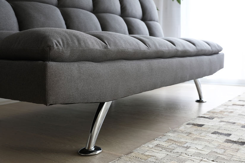 High-shine Zinc Alloy legs. Curved front legs. A unique appearance that enhances the sofa's design.