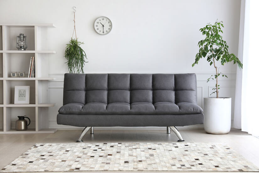 Easy to match dark grey fabric upholstery. Great for all interior designs.
