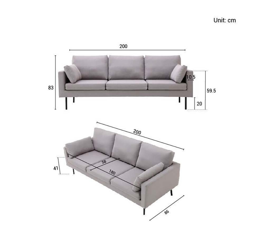 Overall height of 83cm. The height of the sofa up till its arm rests is 59.5cm and its legs are 20cm long. The overall length of the sofa is 200cm and the width of the arm rest is 10.5cm.
