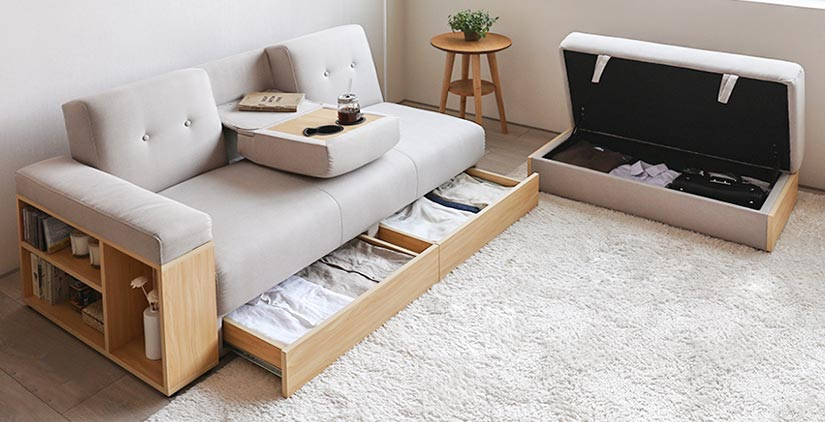 4 Storage Spaces, Armrest Storage, Drawer Storage, Stool Storage & Retractable Backrest with Drink Holders