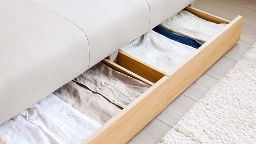Store more with two hidden drawers.