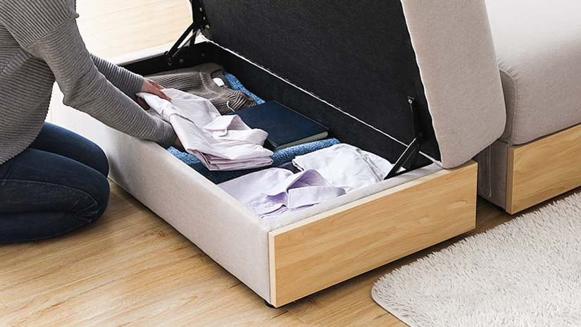 Ottoman with generous storage. Built with damper hinges for easy opening and closing.<