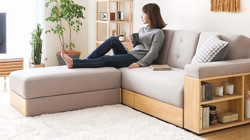Detachable ottoman and armrest.