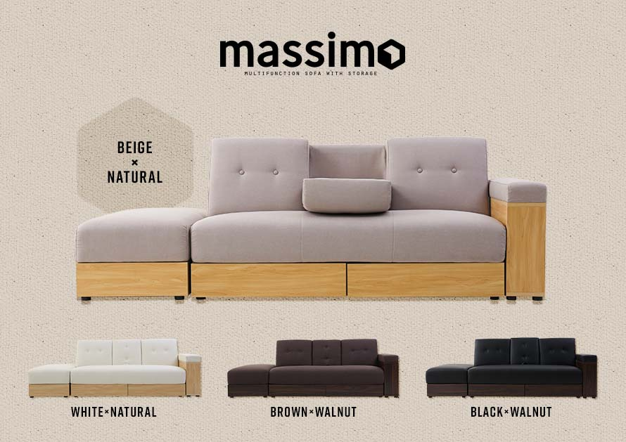 The Massimo sofa bed with storage comes with 4 colors