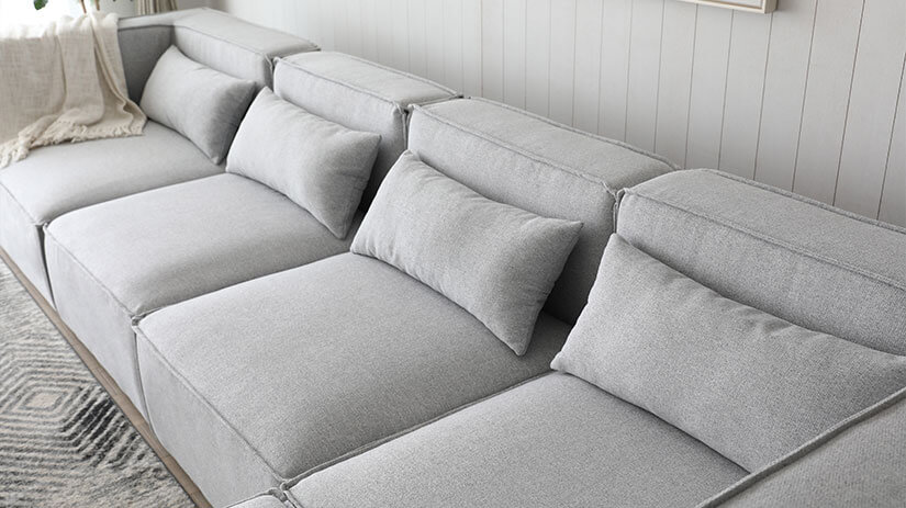 Cushy backrest. Complimentary matching cushions. Lounge in style with the Mod Modular Sofa.
