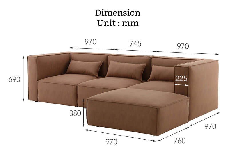 The dimensions of our Mod modular sofa. Buy living room furniture online in Singapore today.